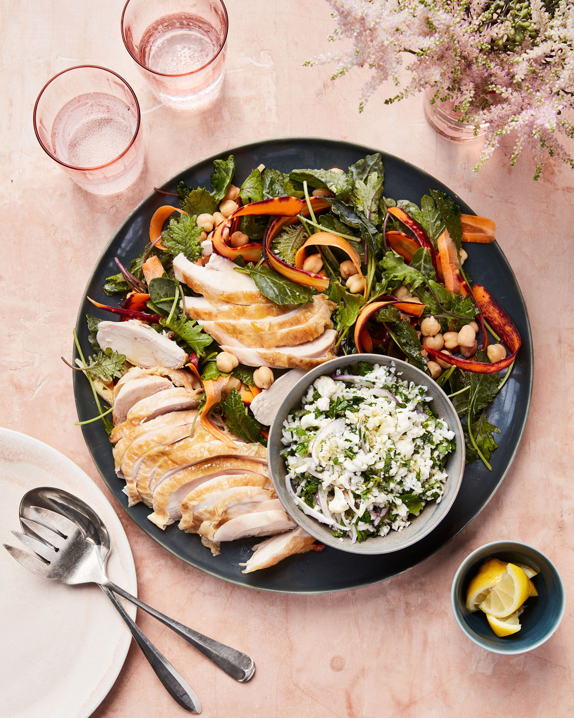 """roasted chicken with cauliflower """"tabbouleh"""""""