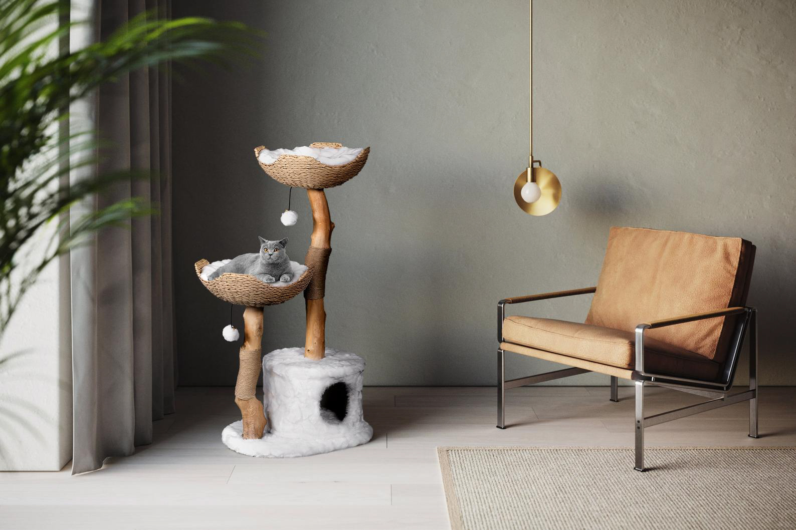 The Mau Store Modern Wooden Cat Tree & Condo