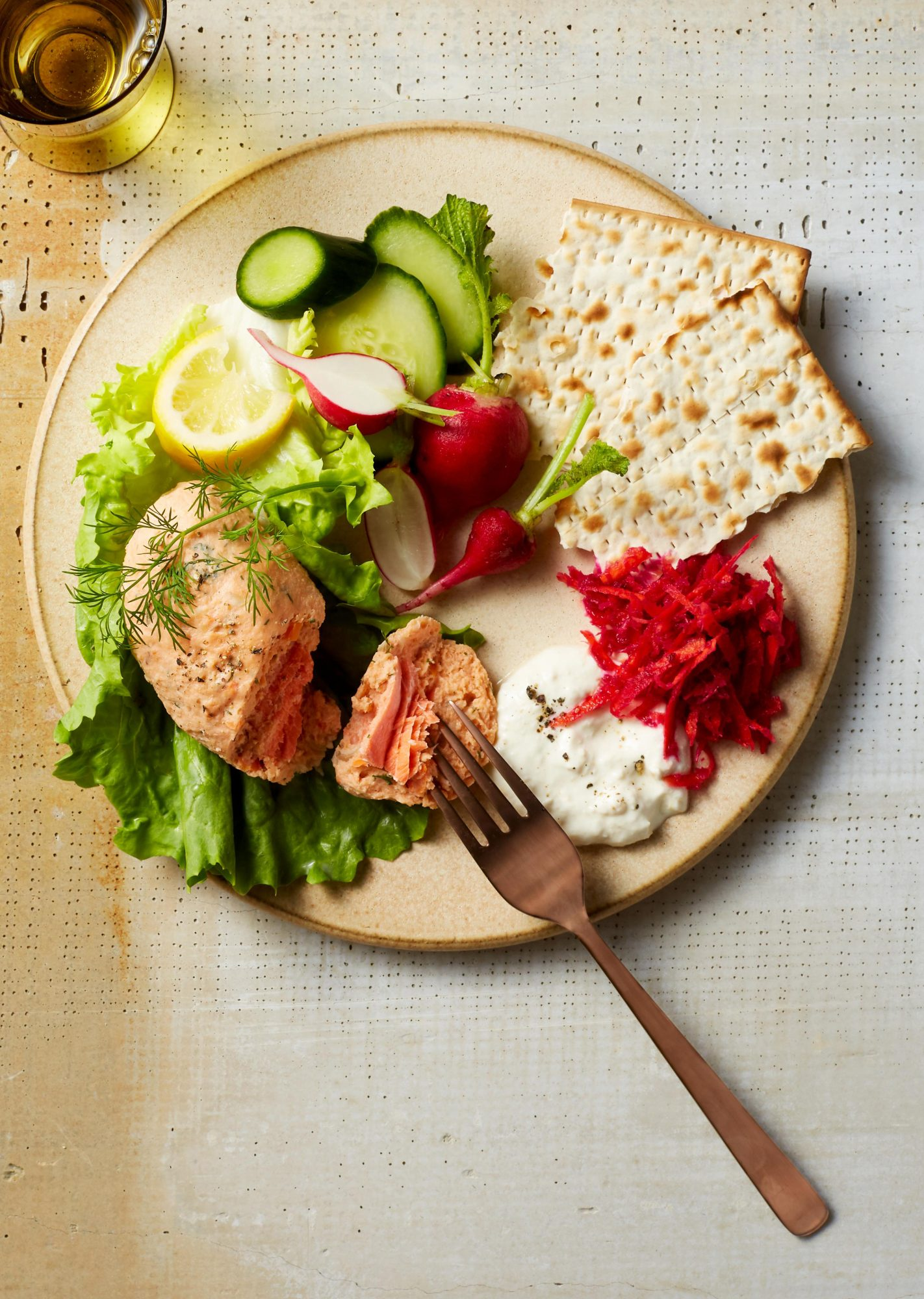 salmon and cod gefilte fish plated
