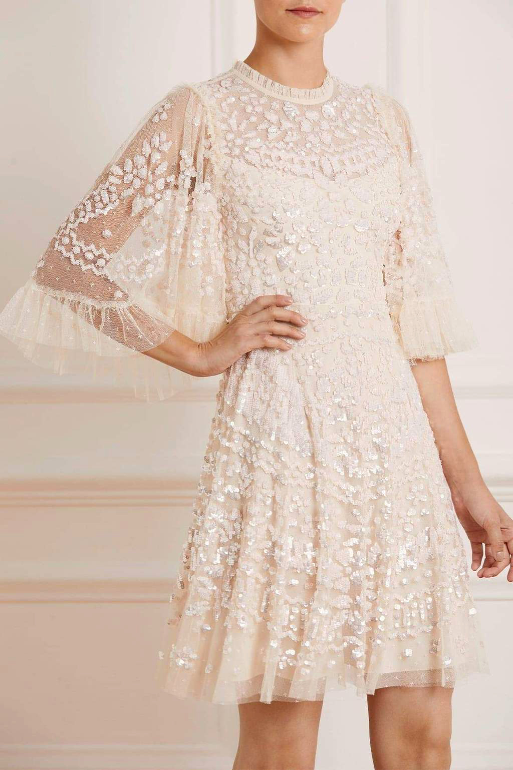 needle and thread anais sequin dress in champagne pink