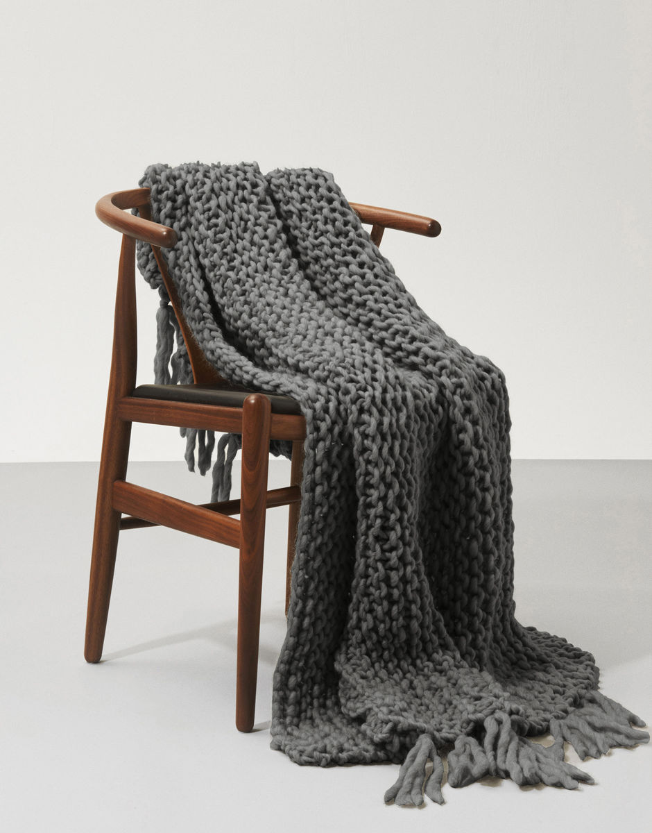 Charcoal gray knit blanket