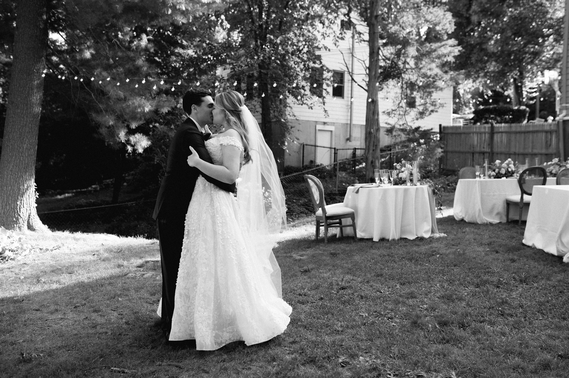 Bride and groom first look in backyard