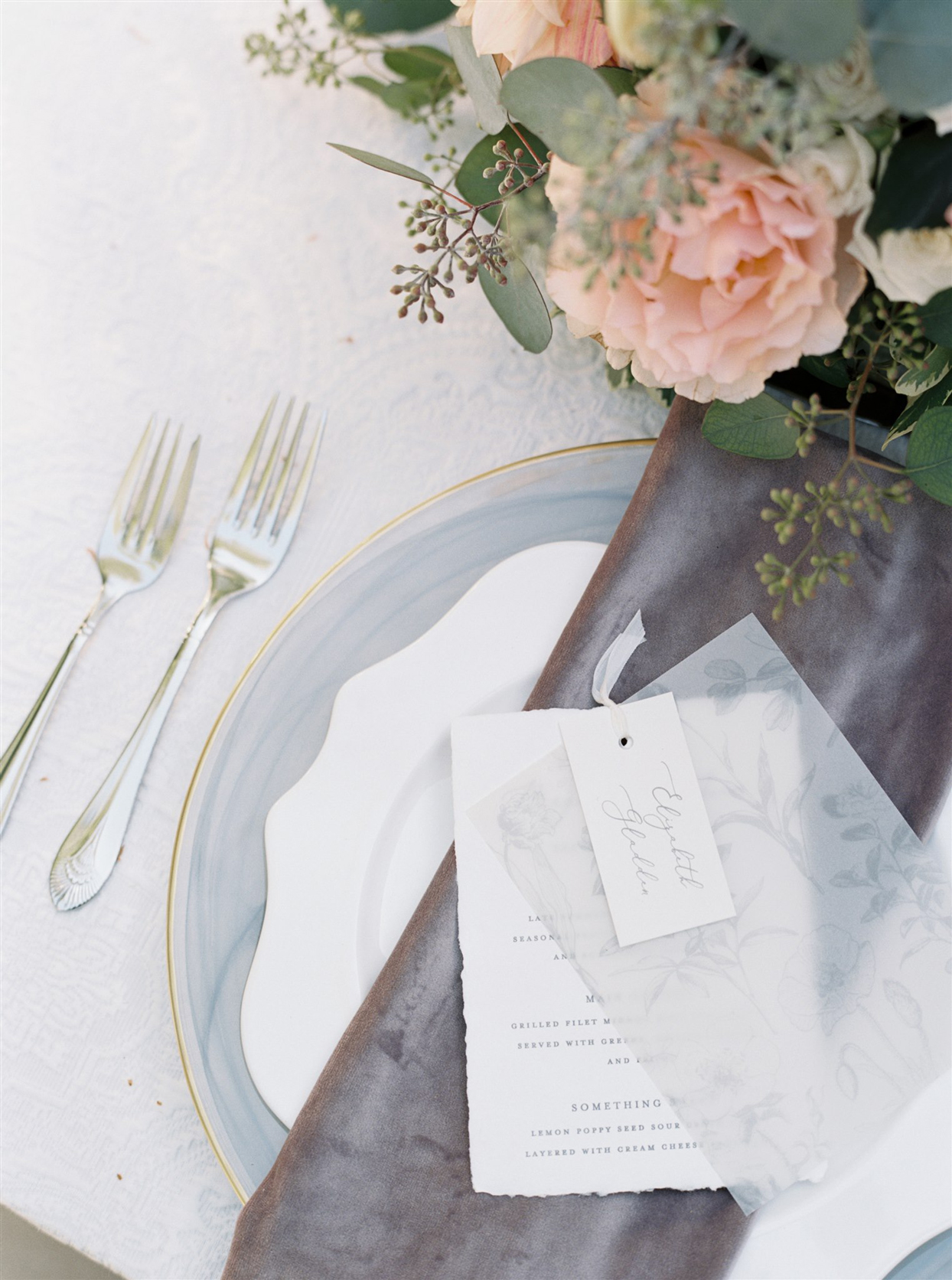 Table setting with dinner menu