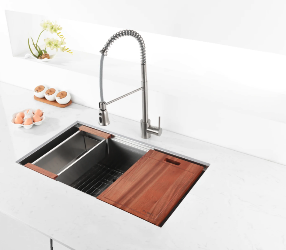 sink with cutting board and strainer