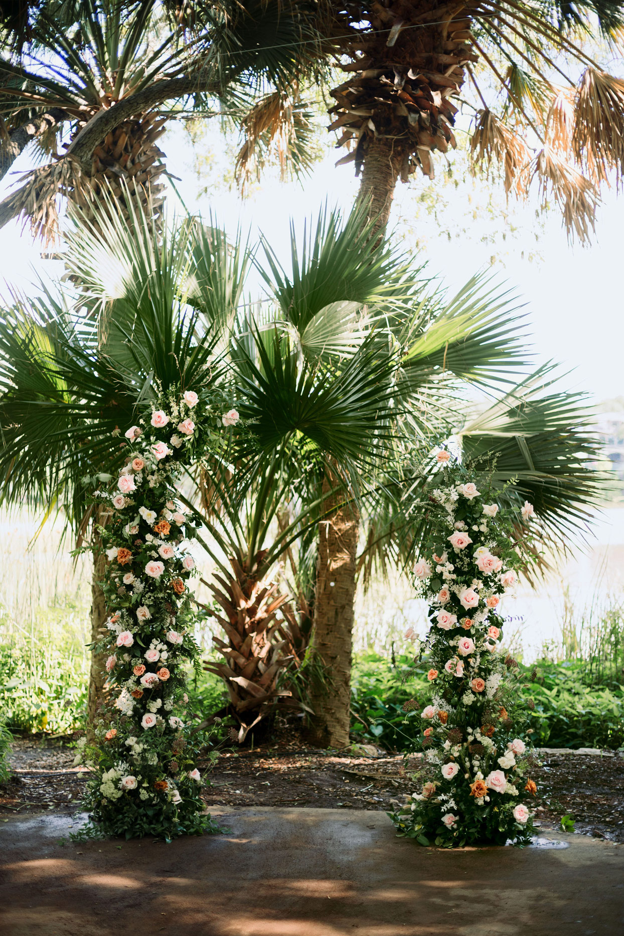 Palm trees decorated with flowers