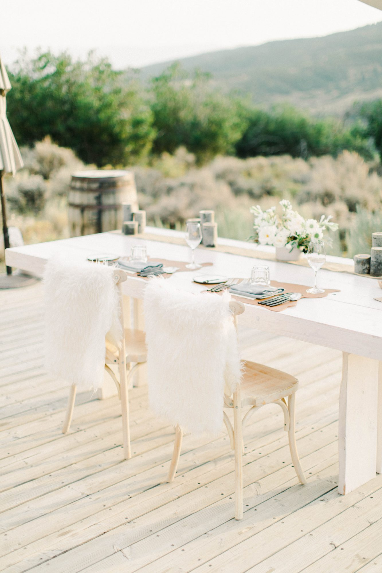 Table setting with flora arrangement