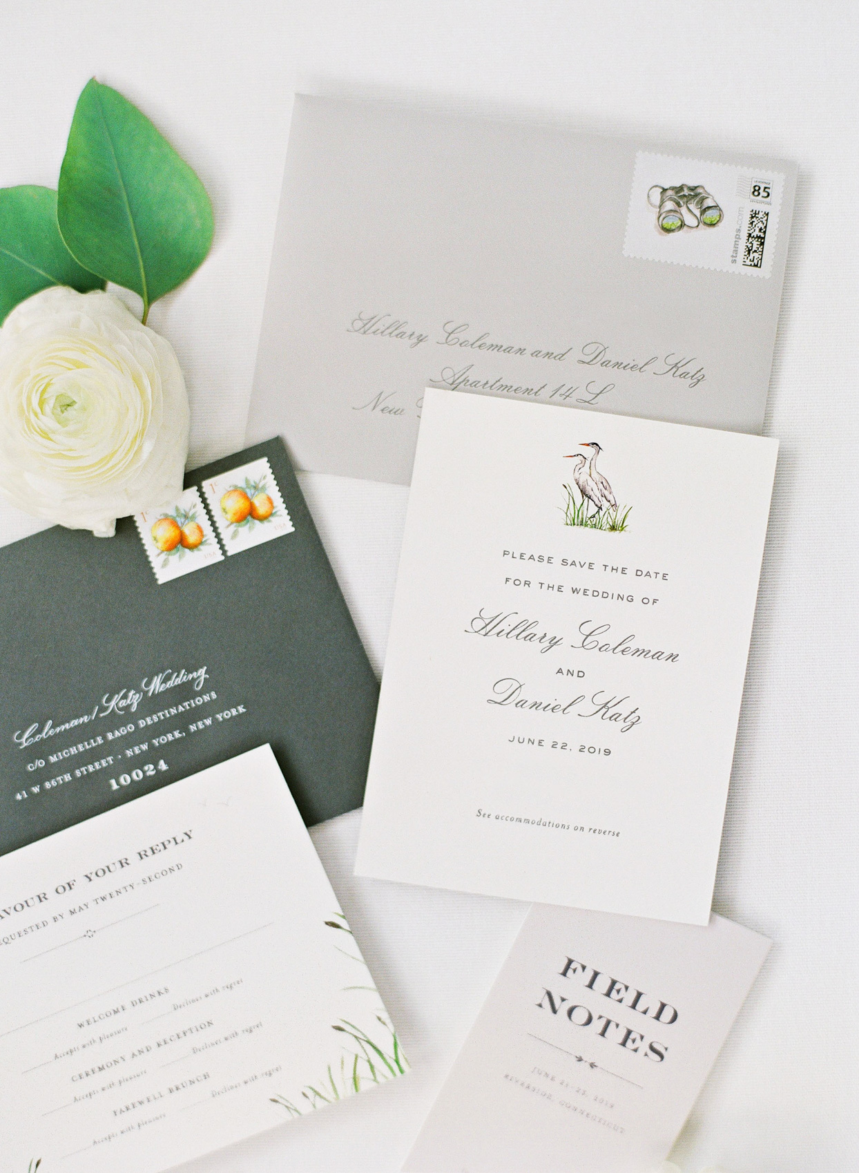 simple white and gray wedding invites
