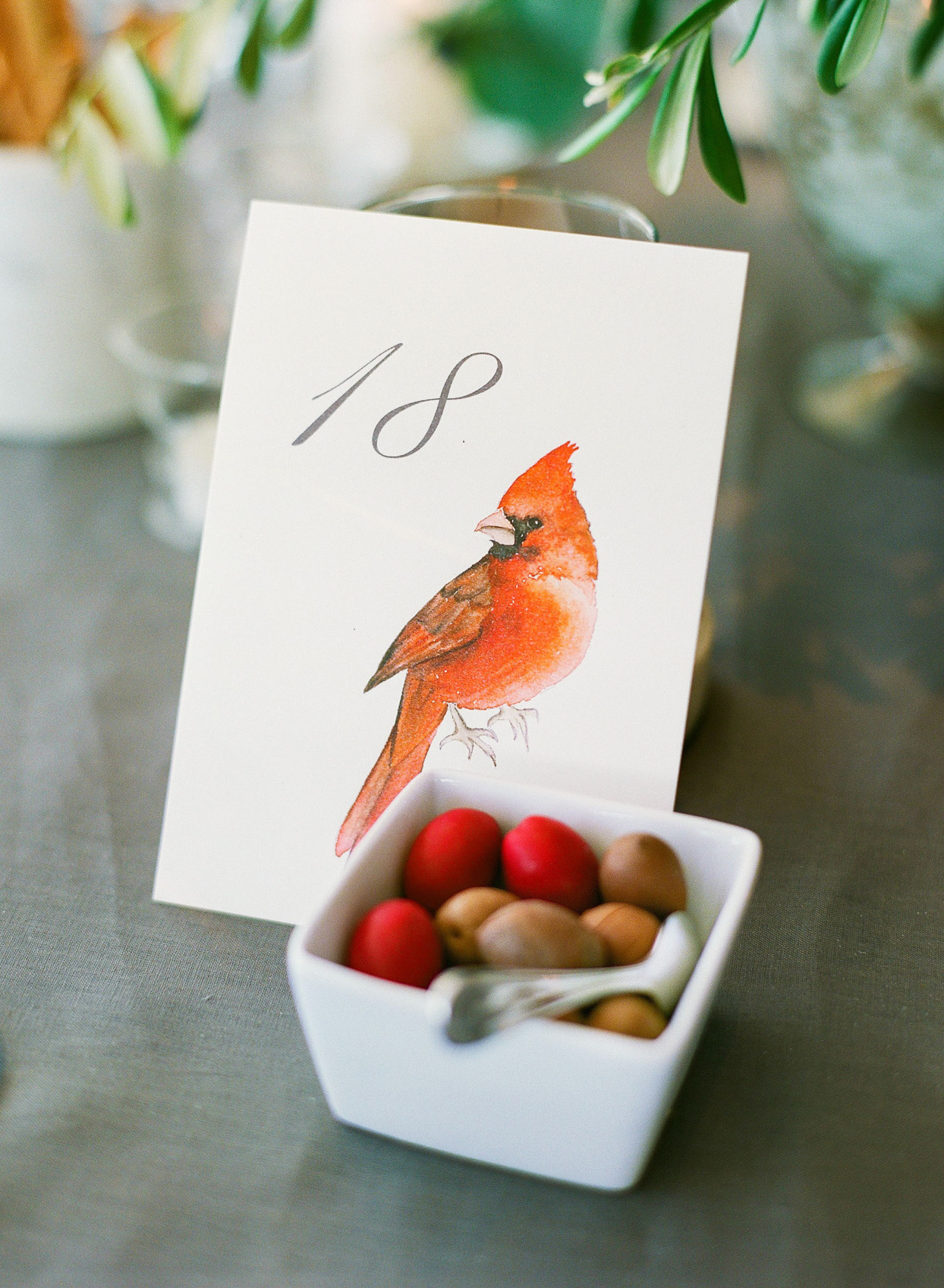 wedding table number with cardinal watercolor
