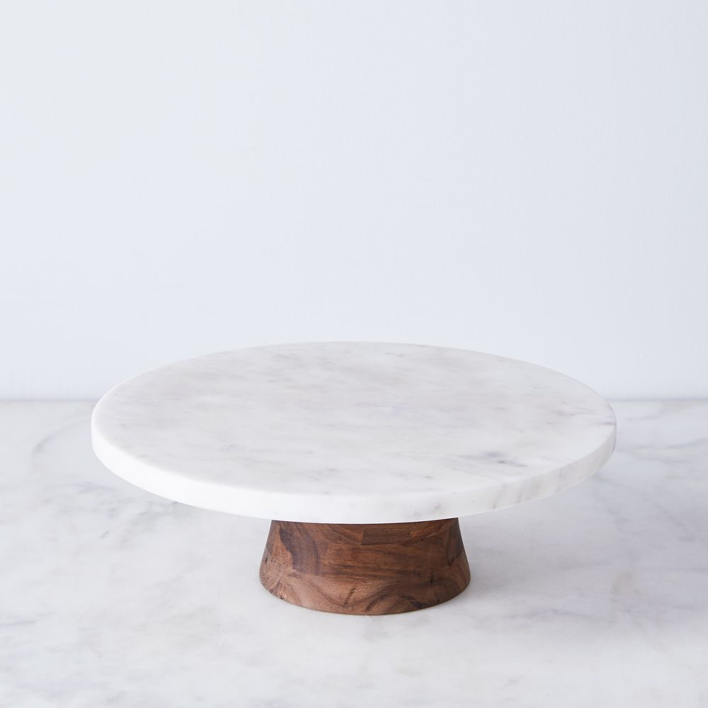 JK Adams marble and walnut rotating cake stand