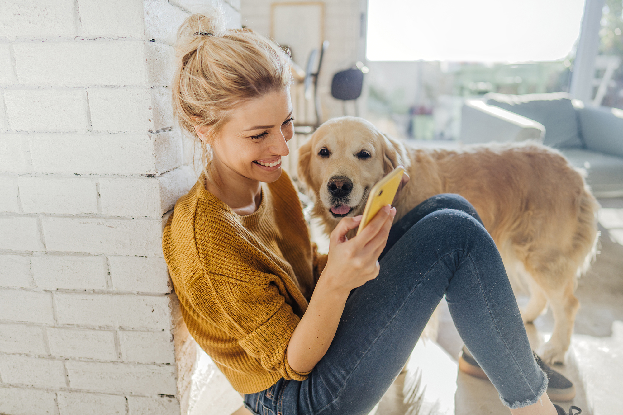 woman sitting and looking at phone with dog