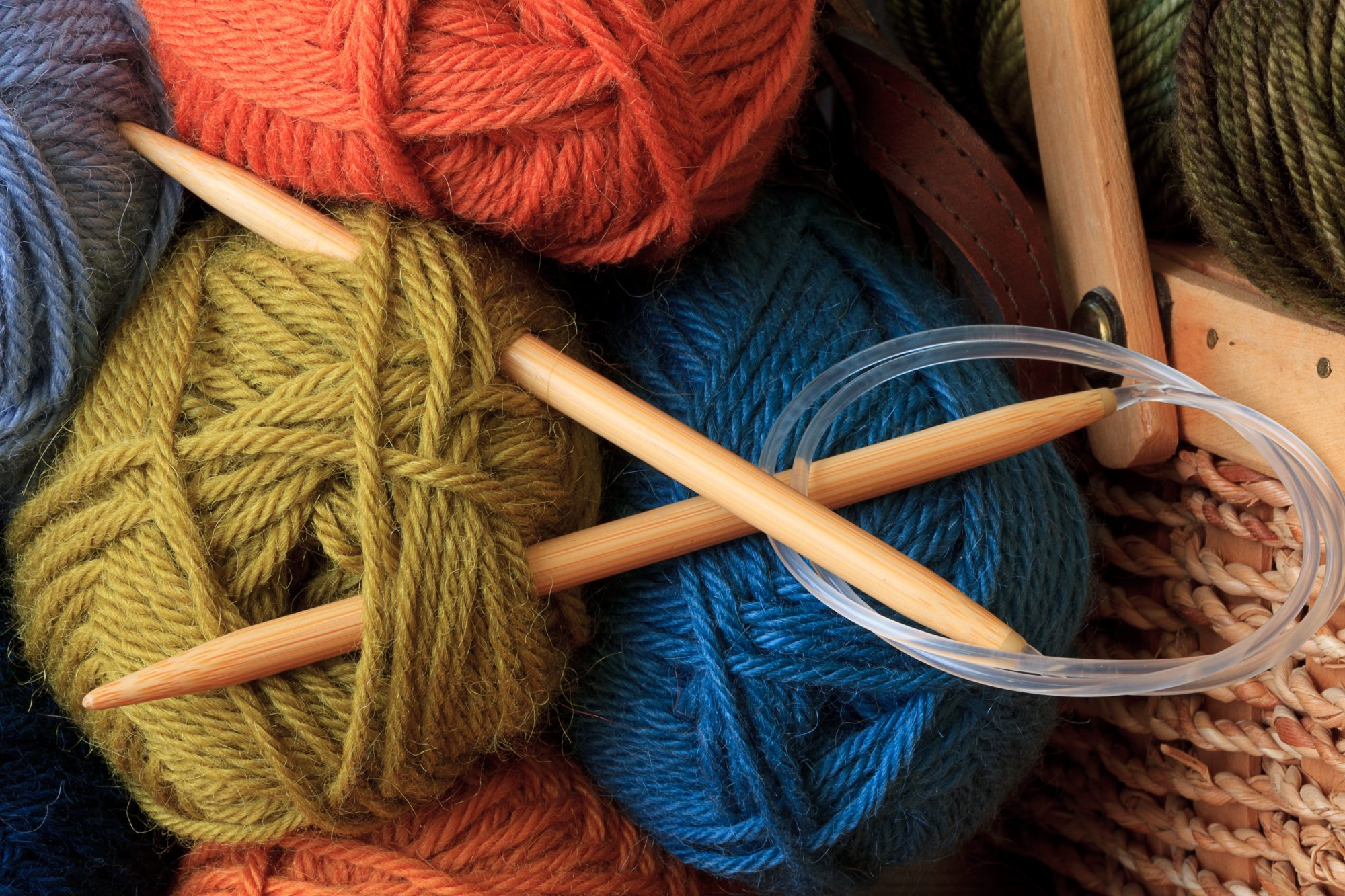 circular knitting needles and yarn