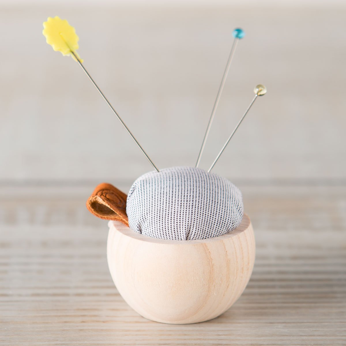 pincushion with leather loop