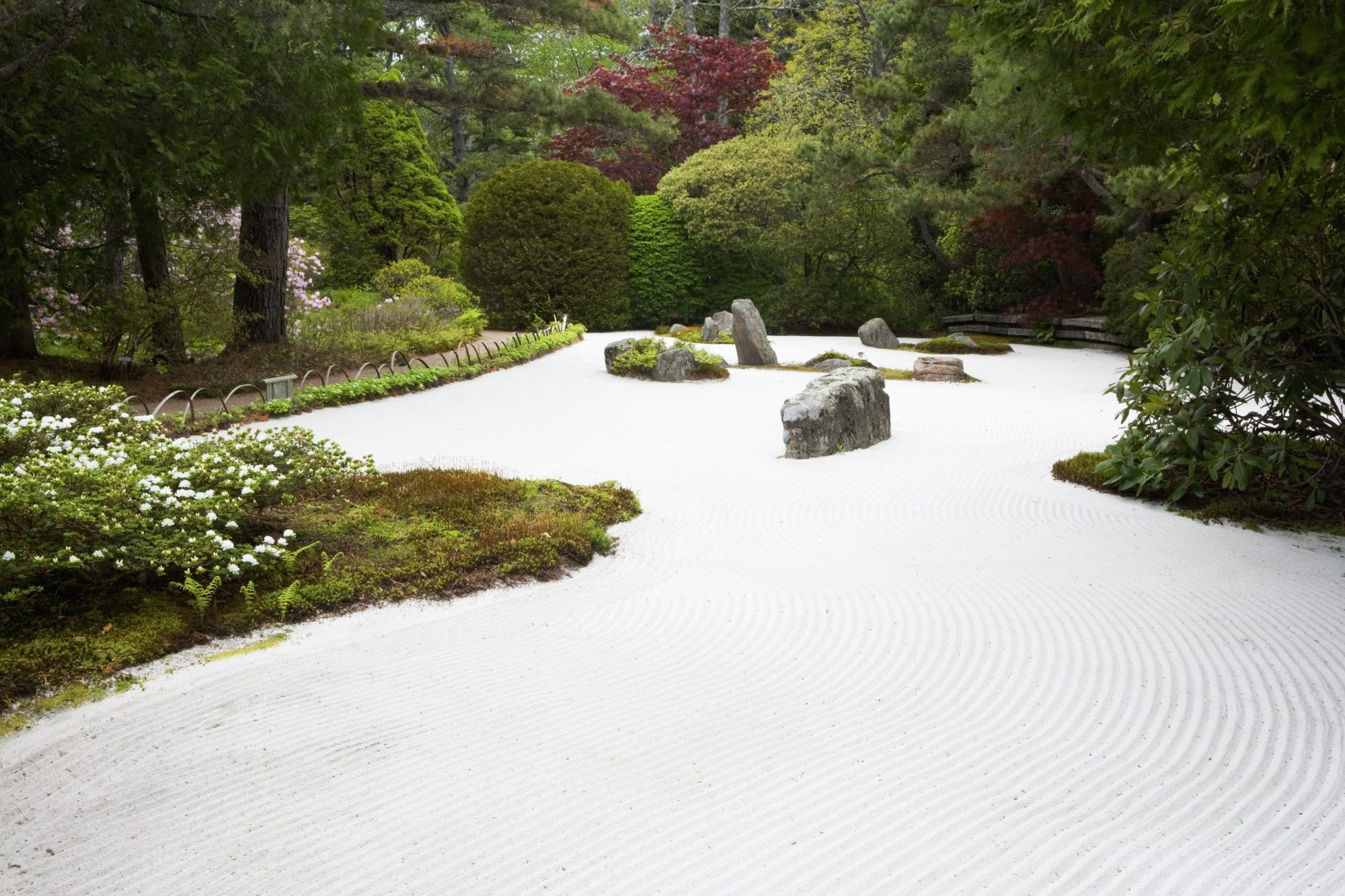traditional zen rock garden with sand and moss