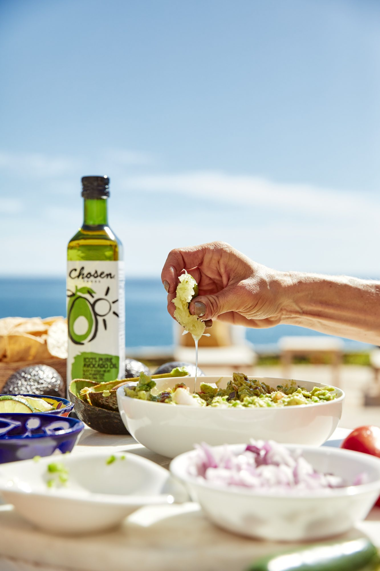avocado oil and guacamole outdoors