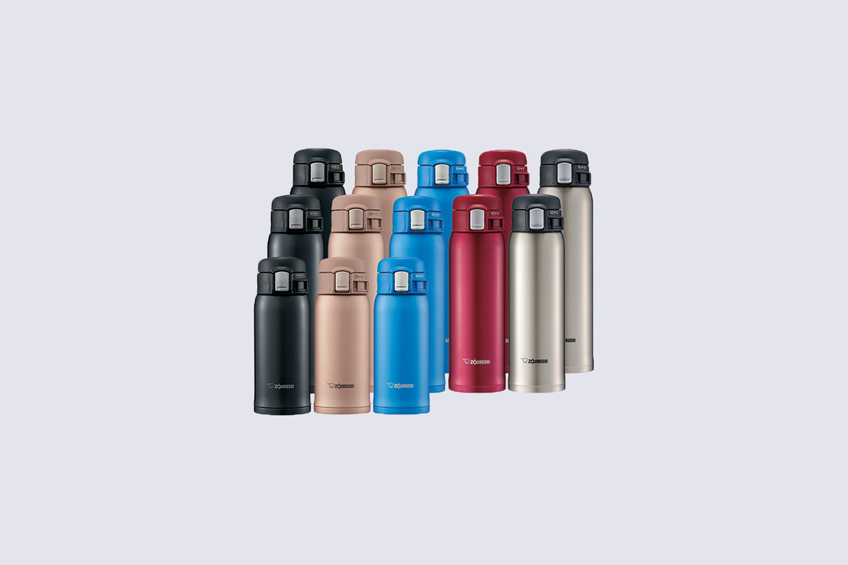 various colored insulated water bottles