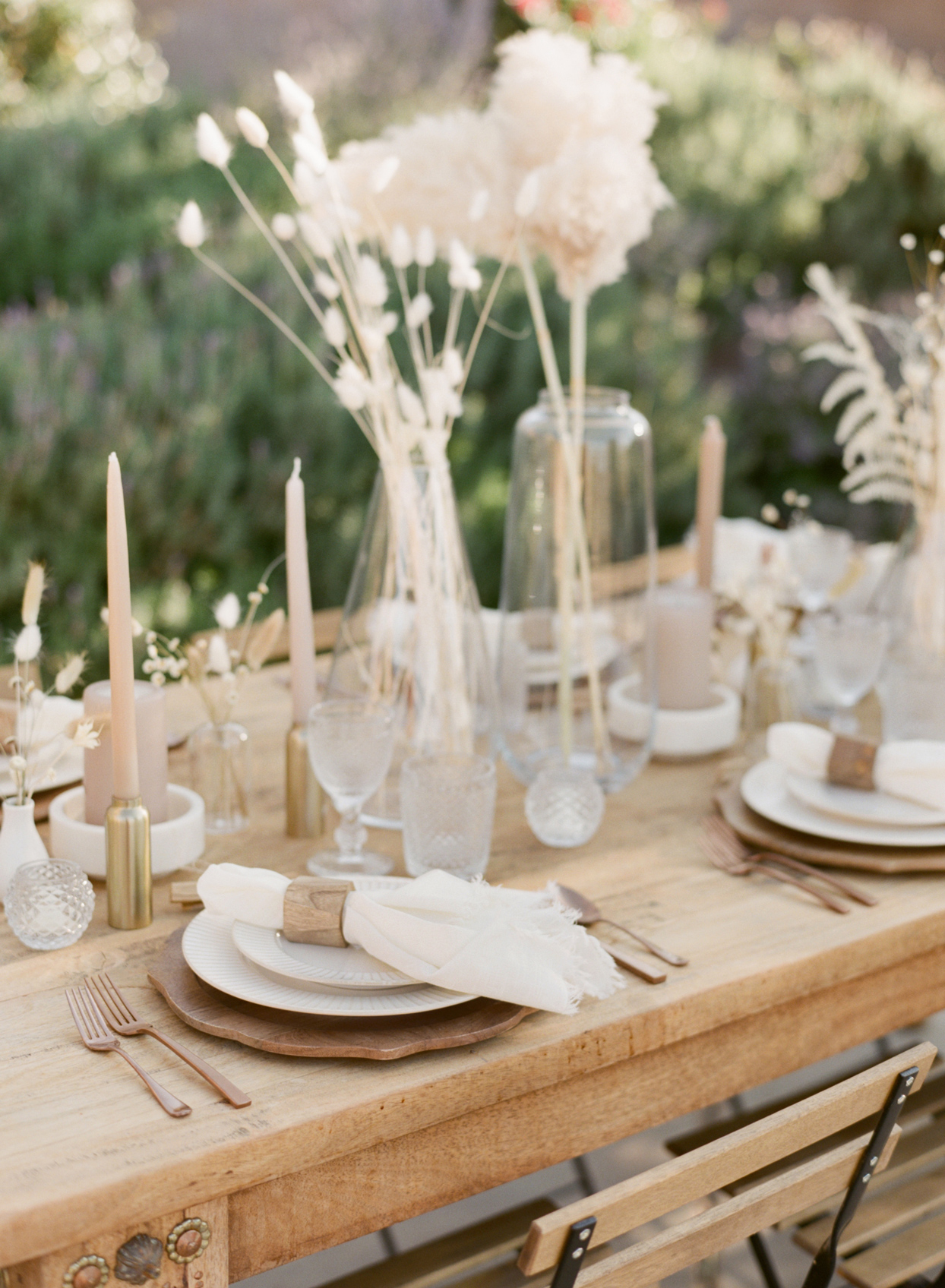 Table setting with candles and flowers