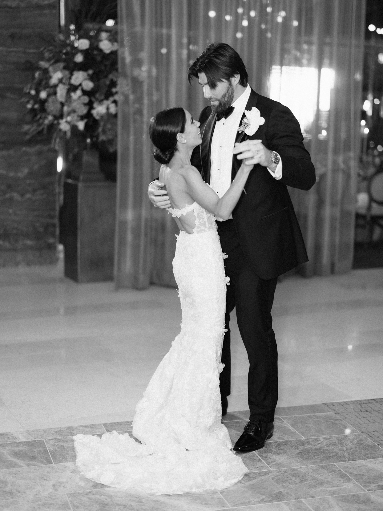 couple first dance indoor reception