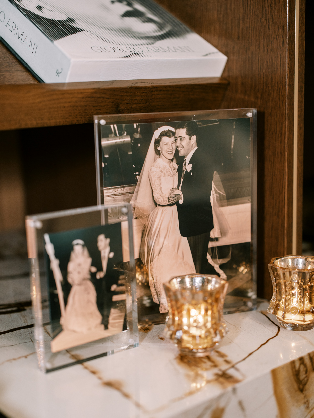 vintage wedding photos of relative with candles