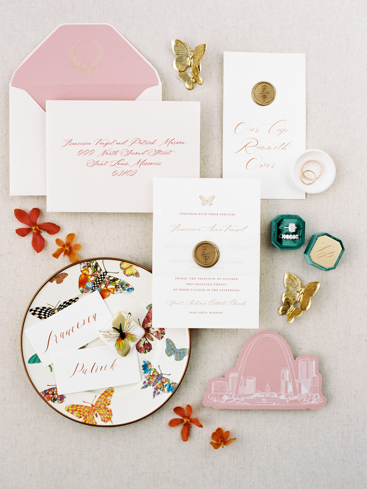 floral and butterfly wedding stationary set