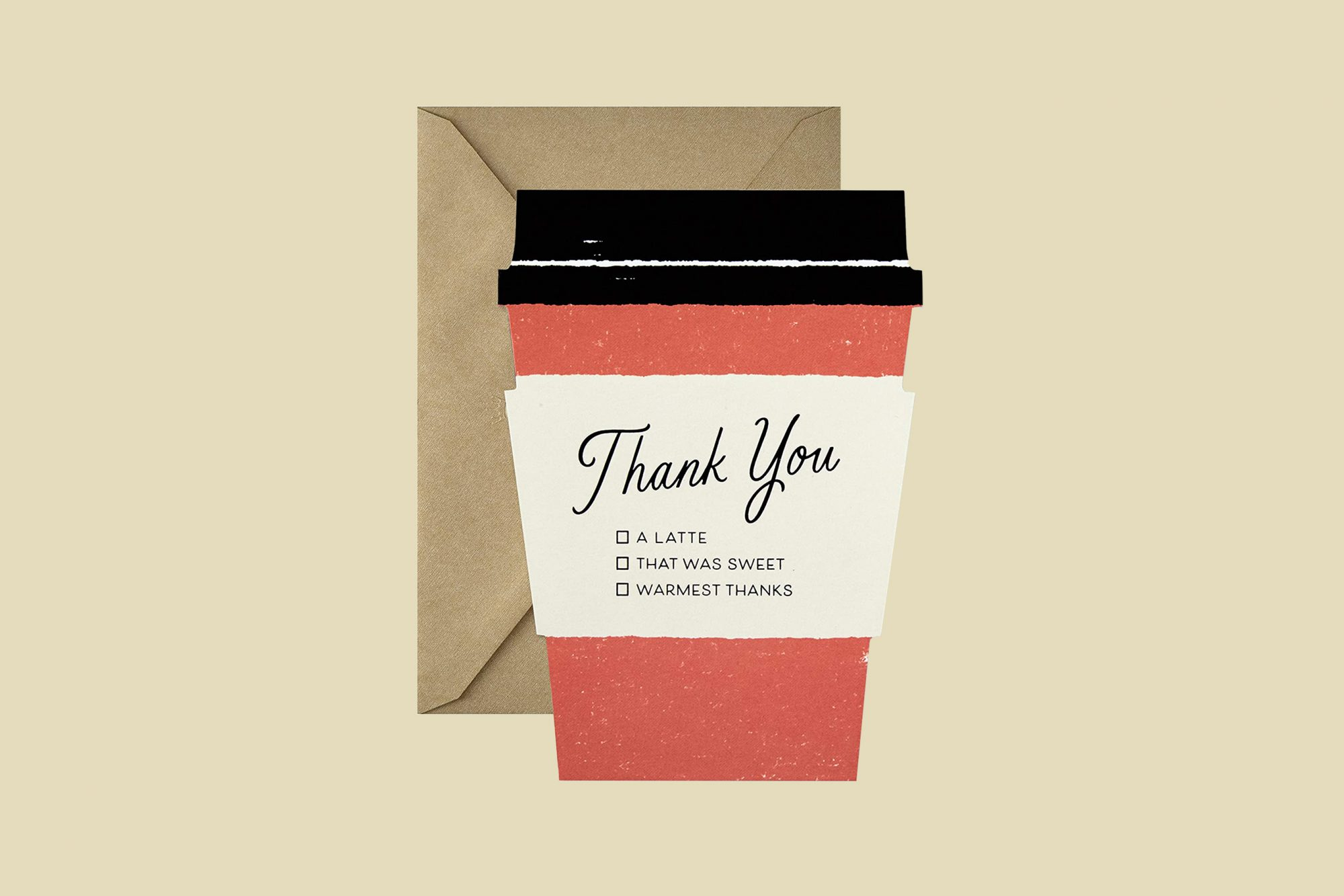 coffee cup shaped thank you card