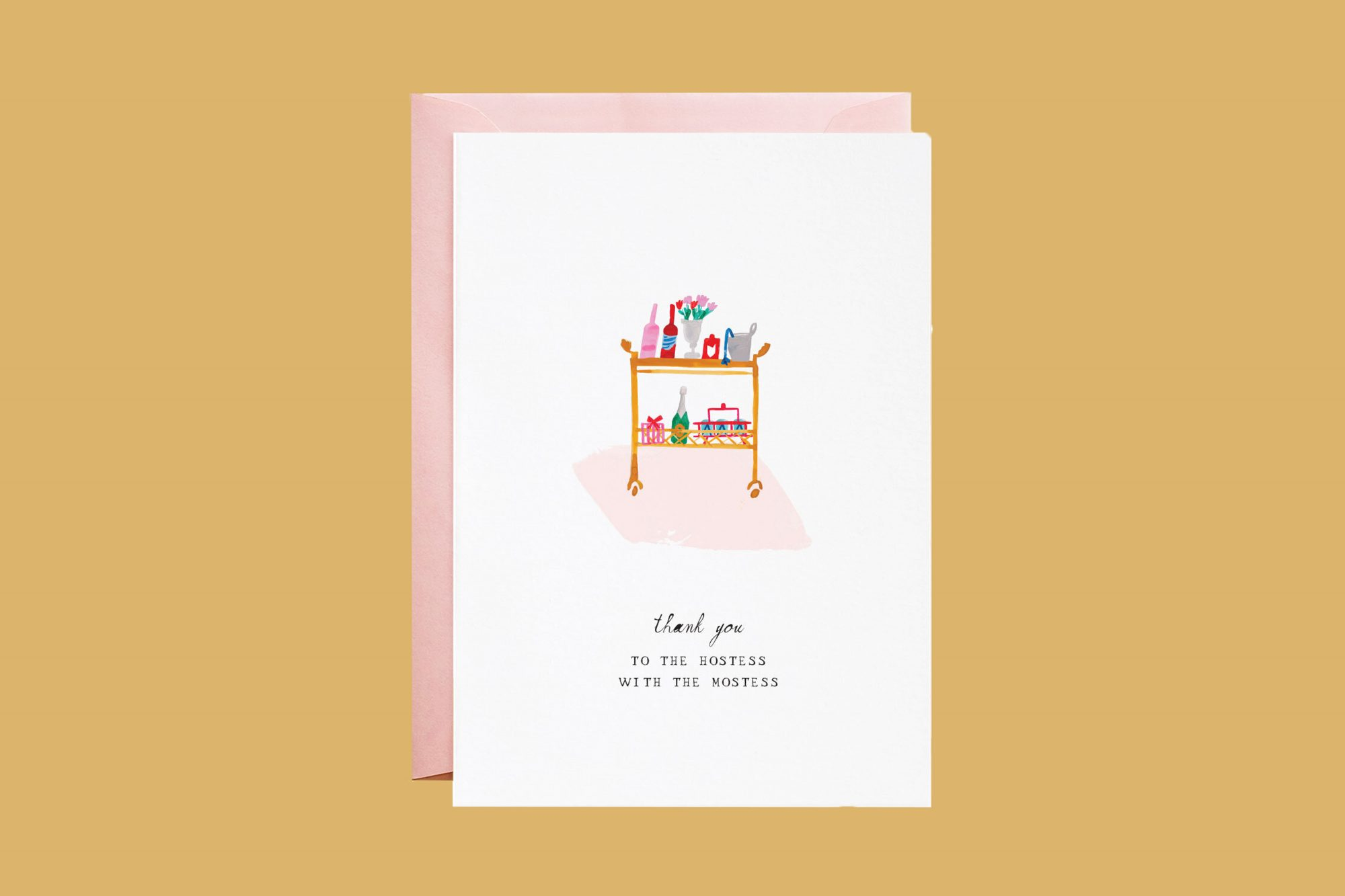 thank you card with bar cart illustration
