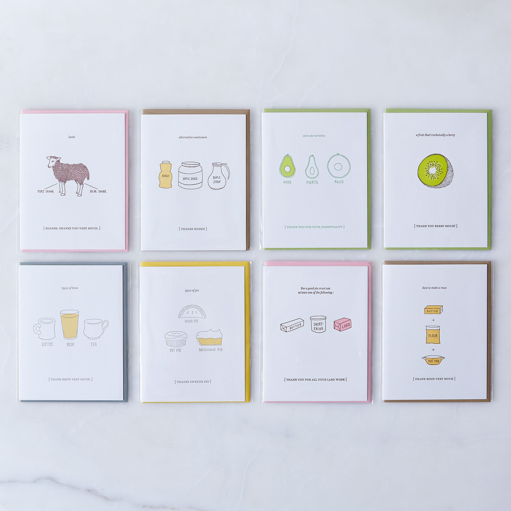 food themed thank you cards