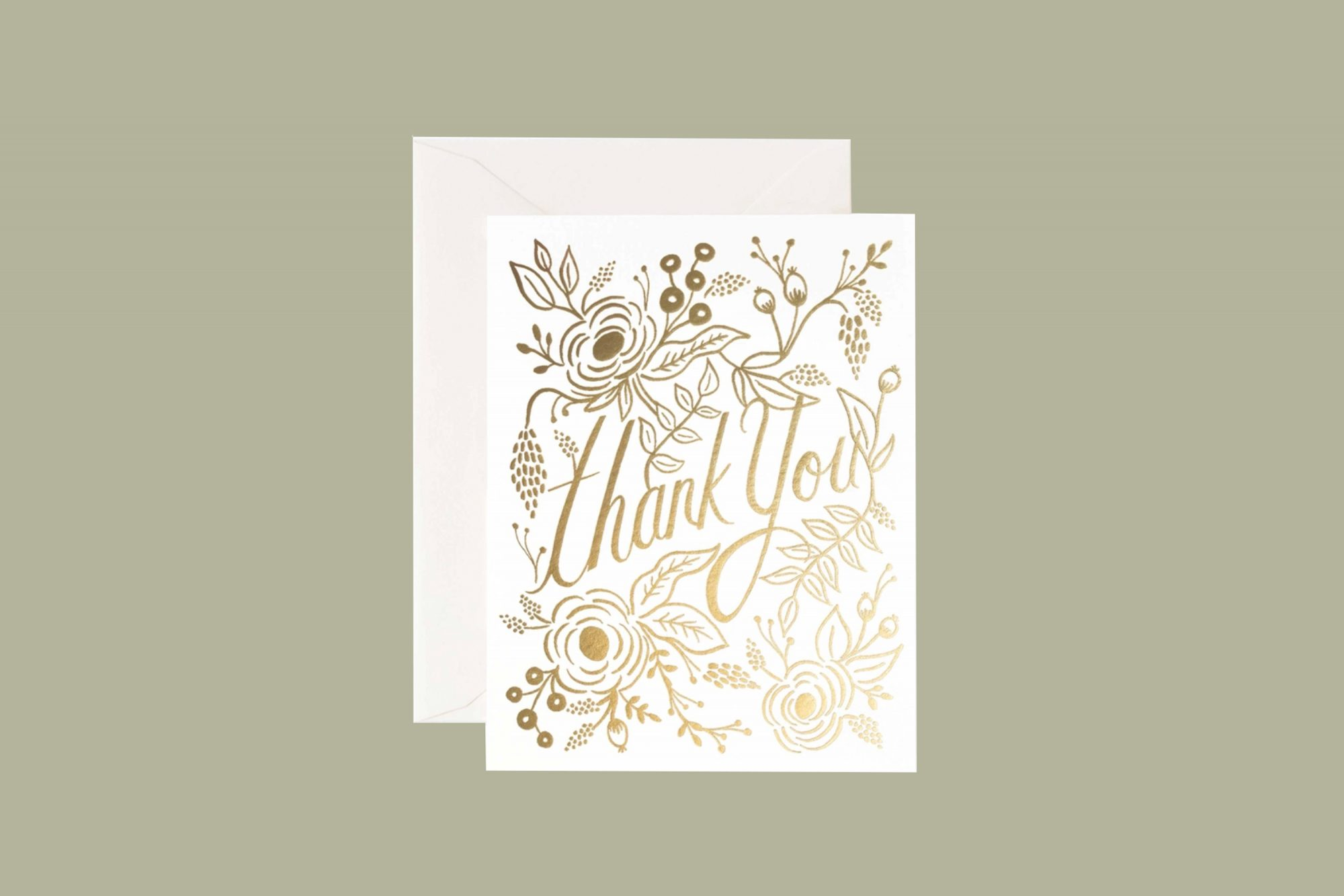 rifle paper co. gold on white thank you card