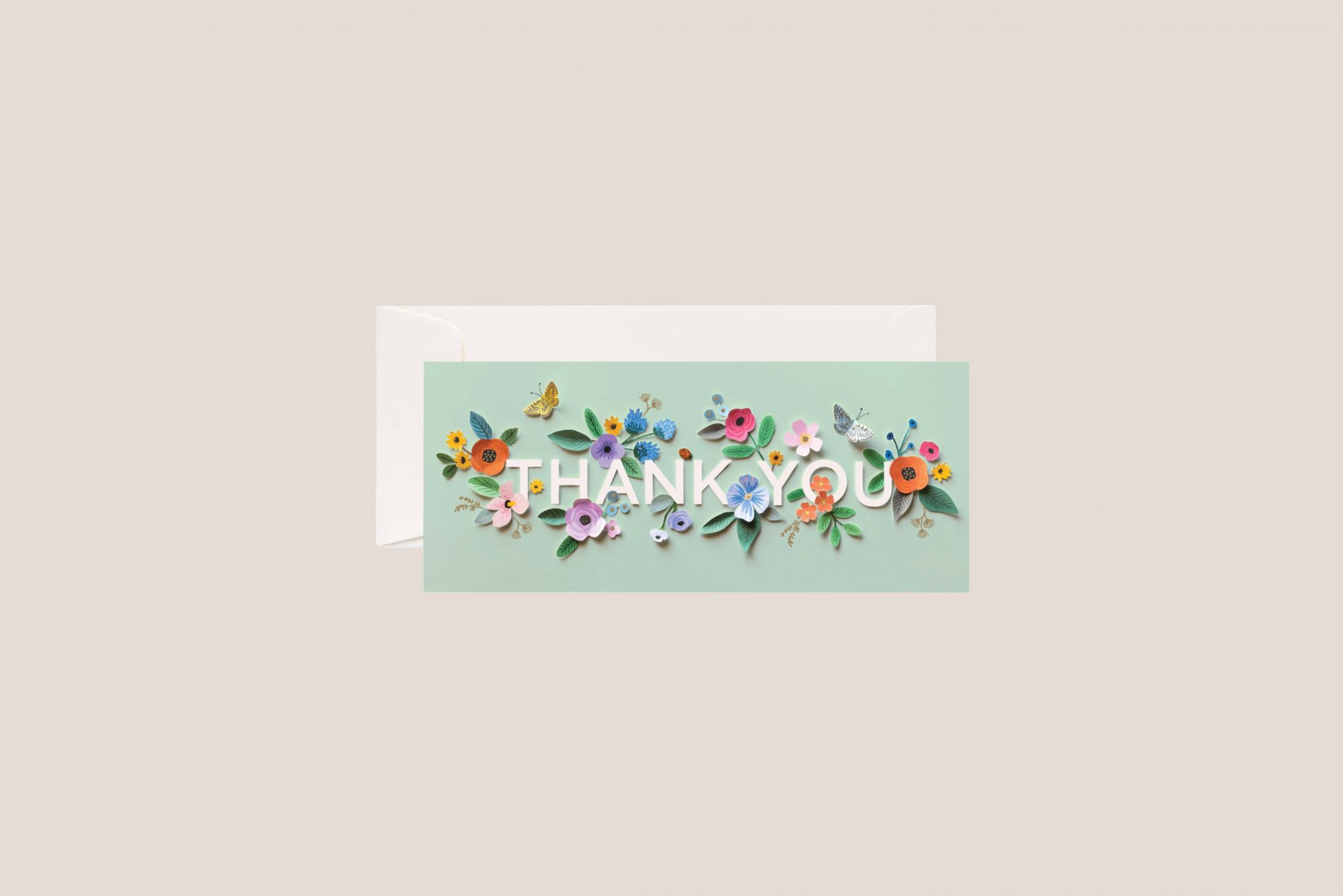 rifle paper co. green floral thank you card