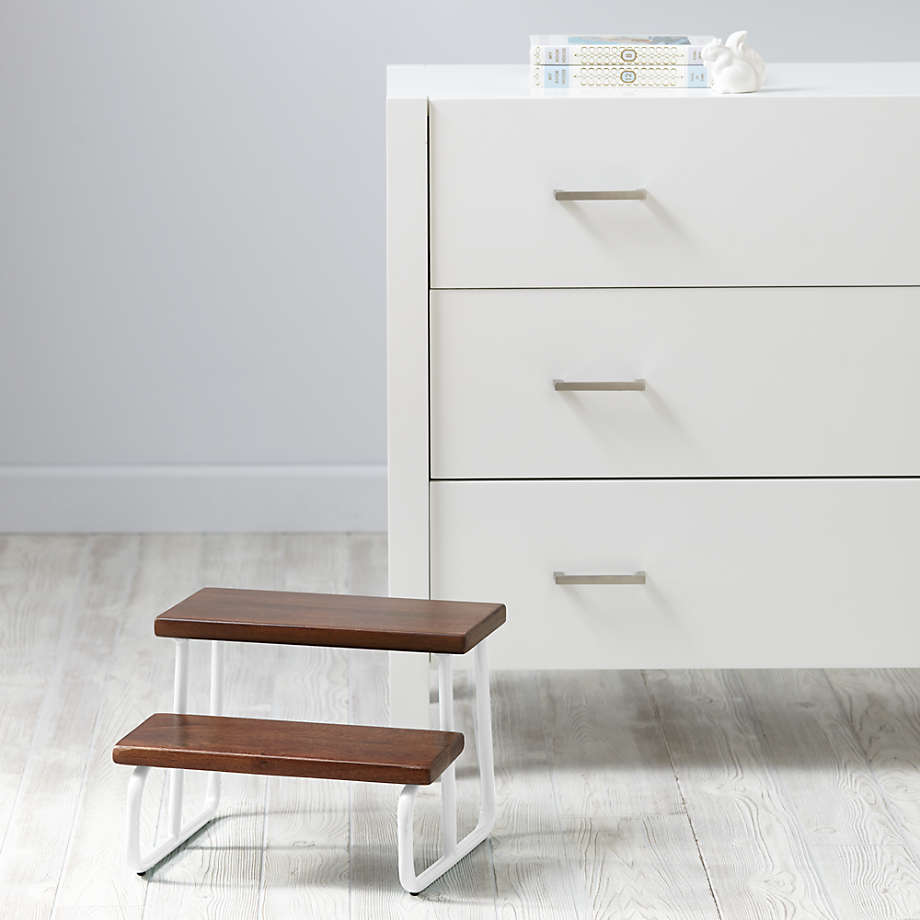 """Crate & Barrel """"On the Double"""" White Wooden Step Stool"""