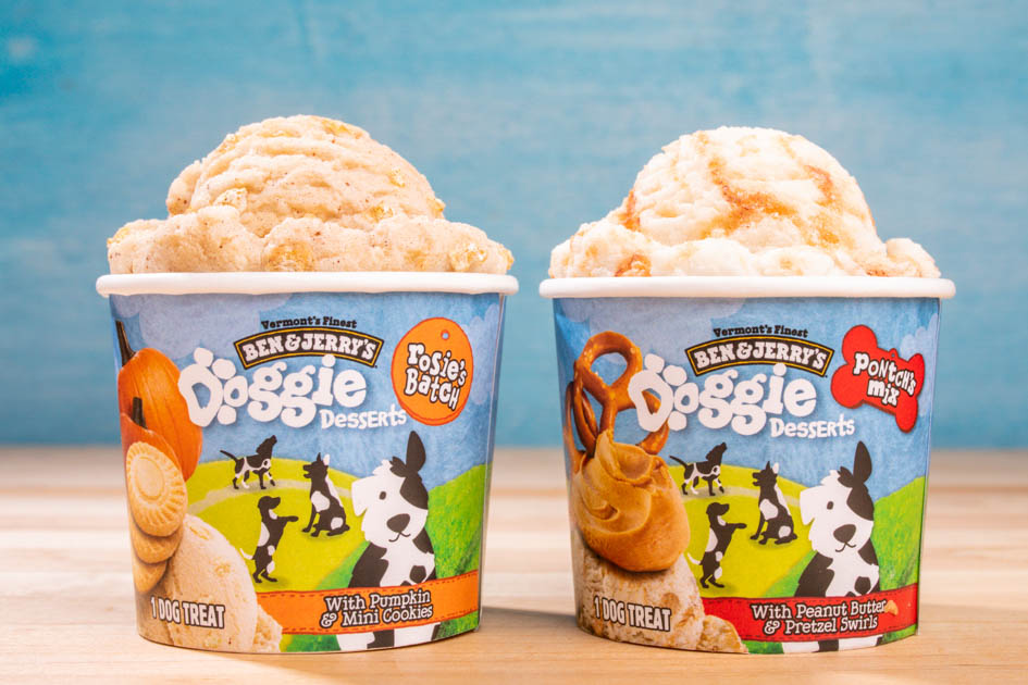 two flavors of dog ice cream