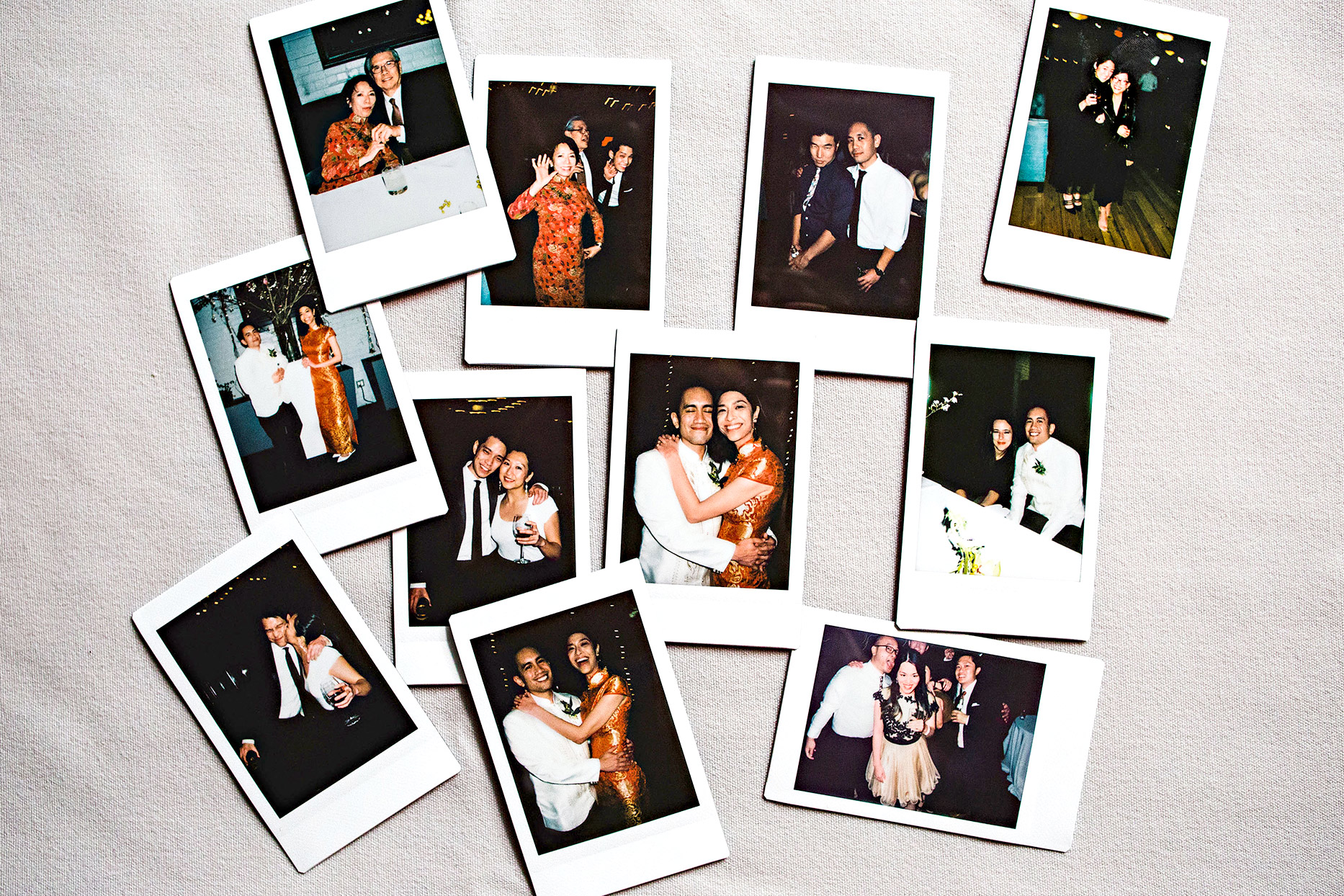 polaroids of a wedding