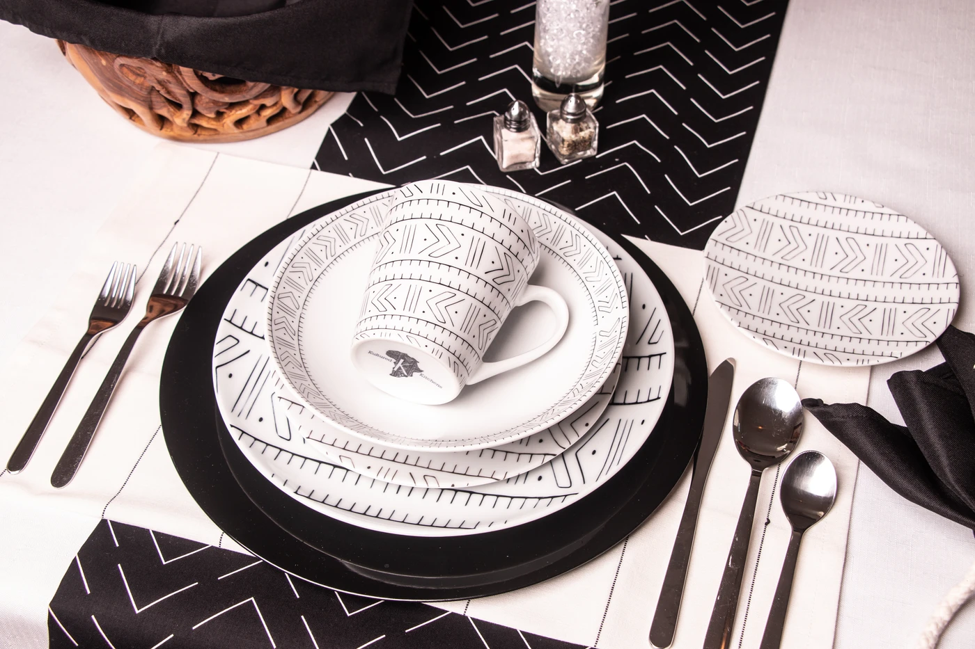 decorated black and white table