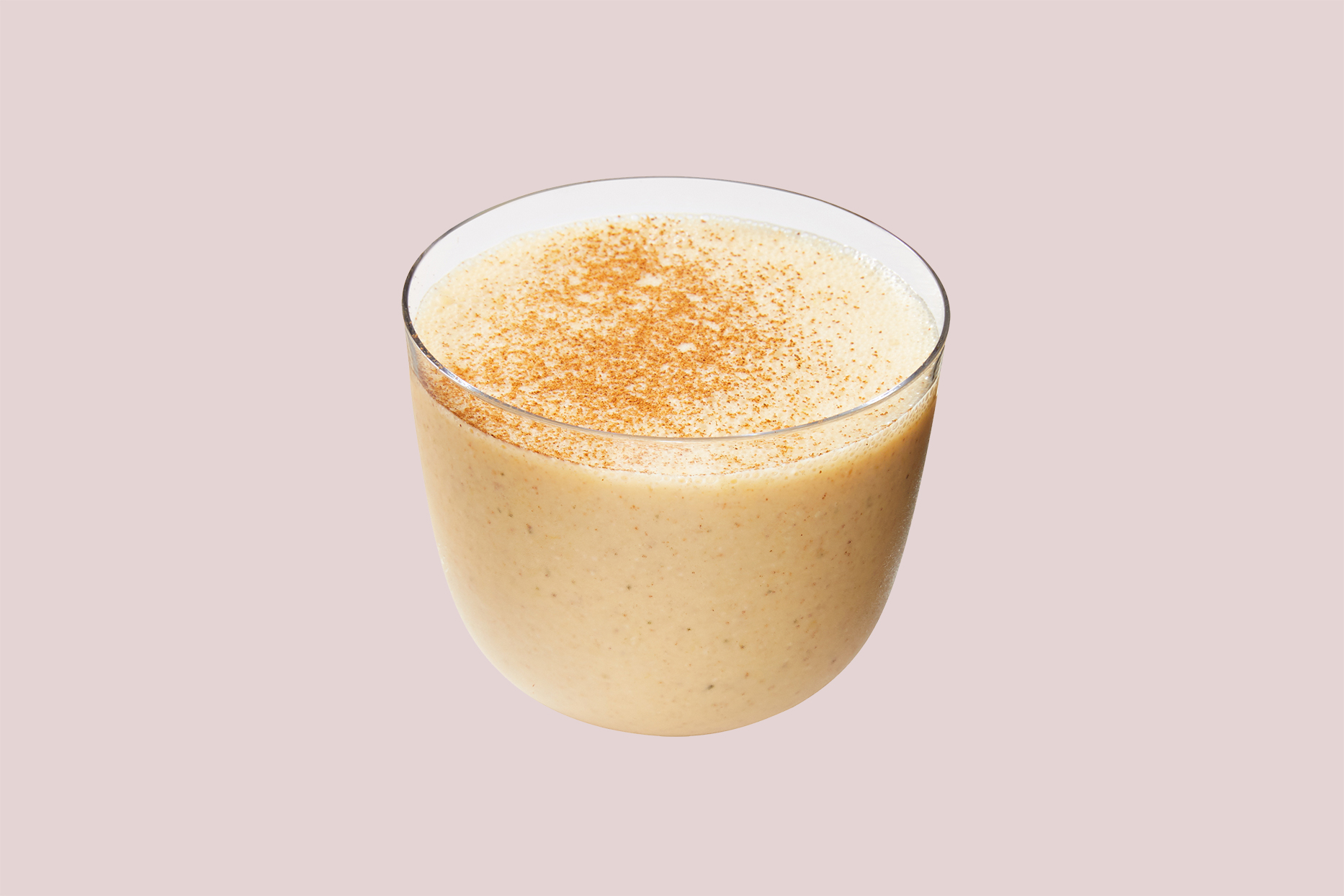 cinnamon smoothie in glass cup