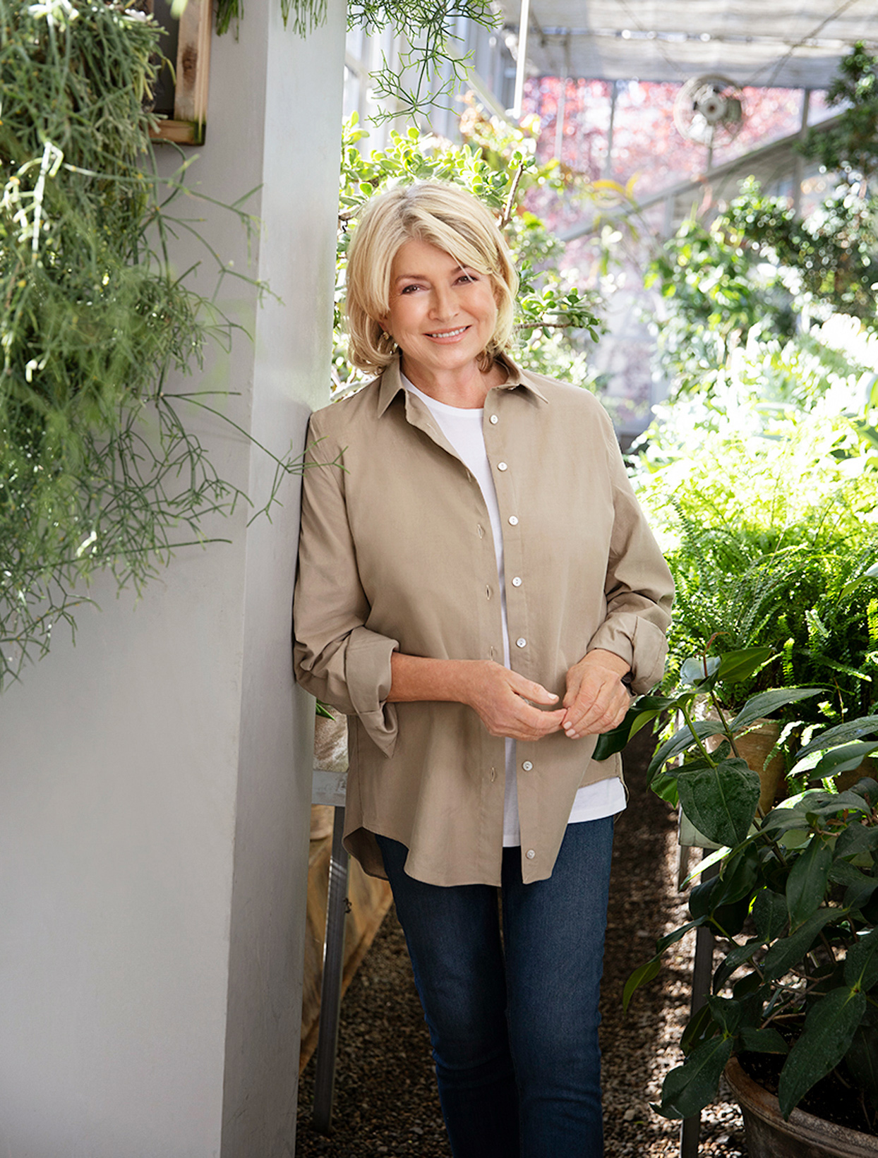 Martha Stewart in home garden