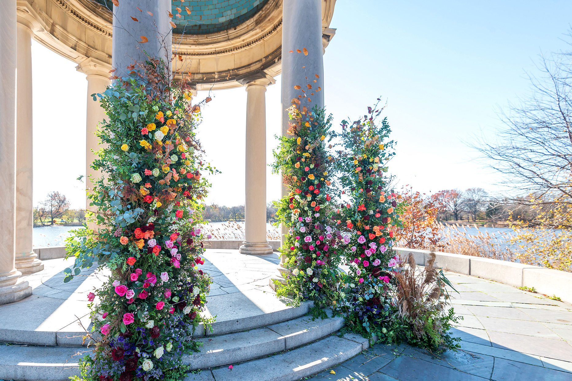 flowers decorate columns in visual for outdoor flower show in June 2021