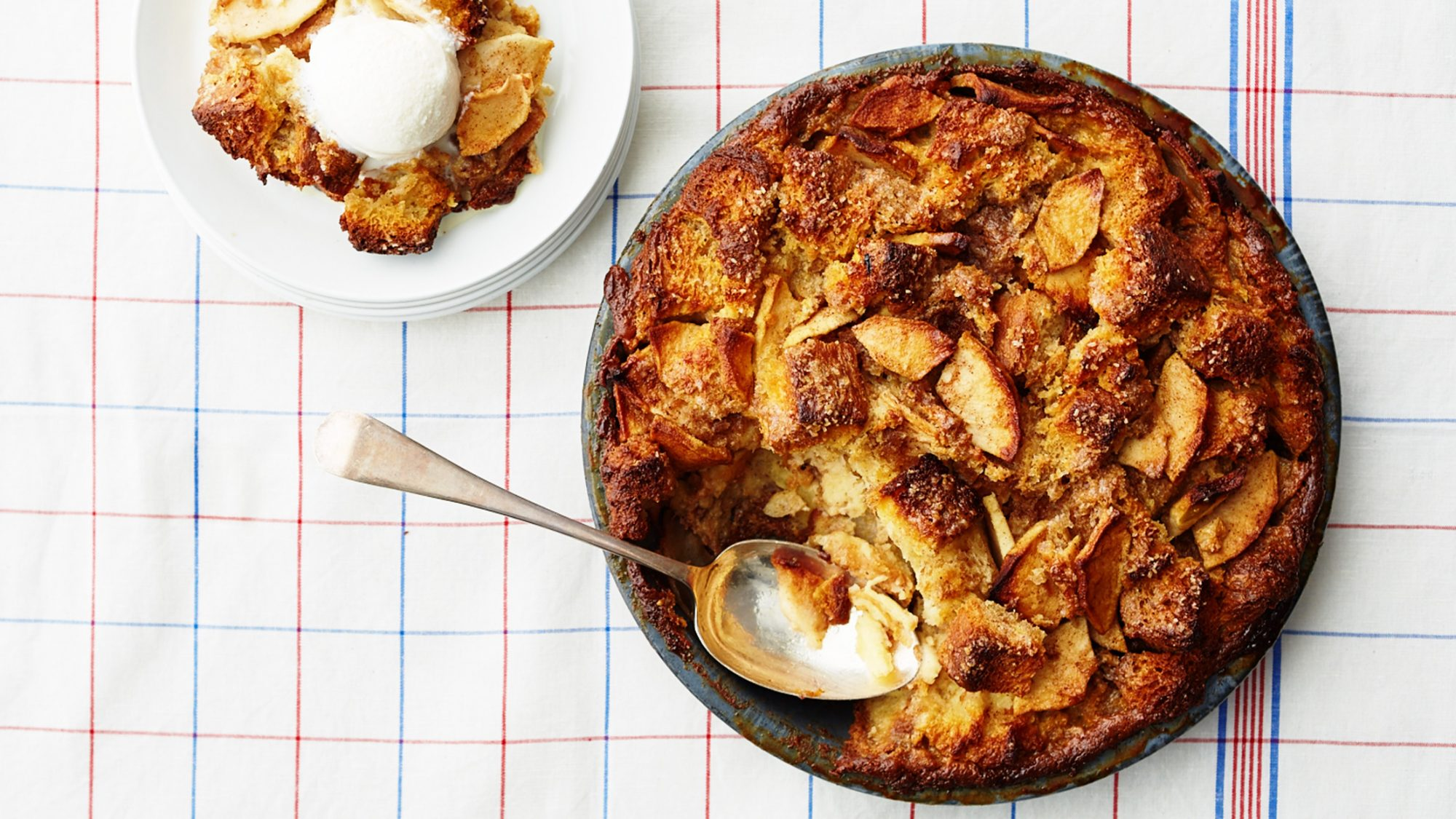 Apple pie bread pudding in bakeware