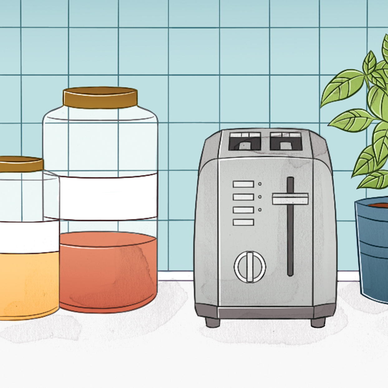 toaster and jars on counter illustration