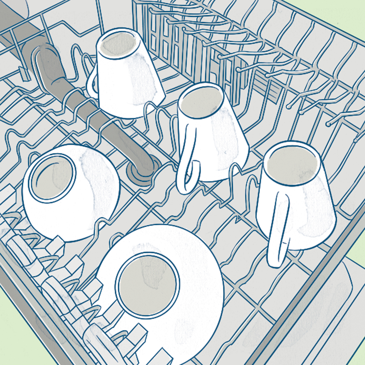 cups and bowls in dishwasher illustration