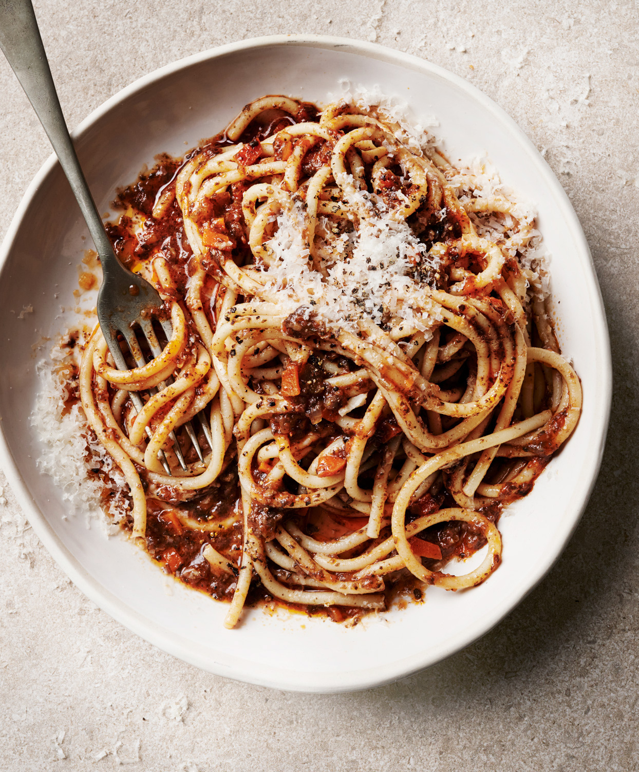 vegetarian bolognese with bucatini