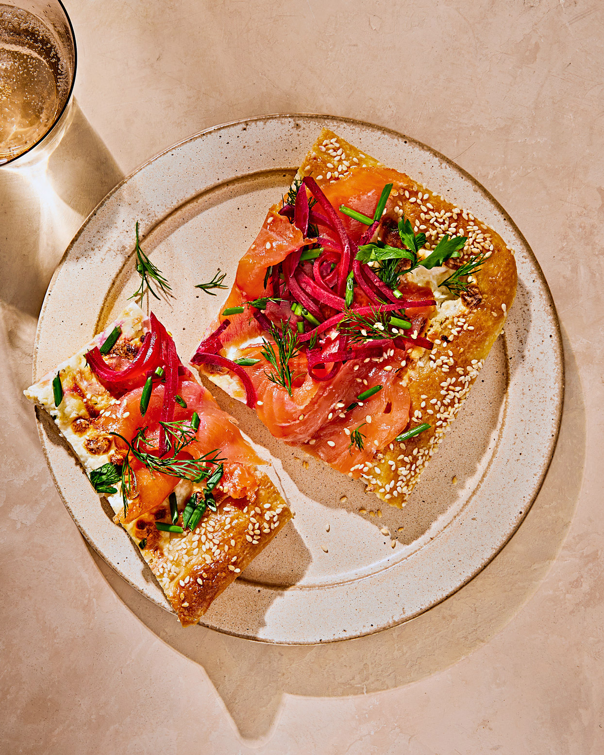 Smoked-Salmon Flatbread with Pickled Beet