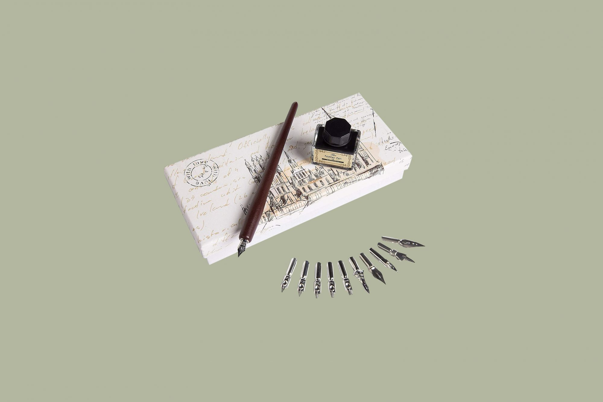 hethrone wooden dip pen handcrafted calligraphy set with 11 nibs and black ink