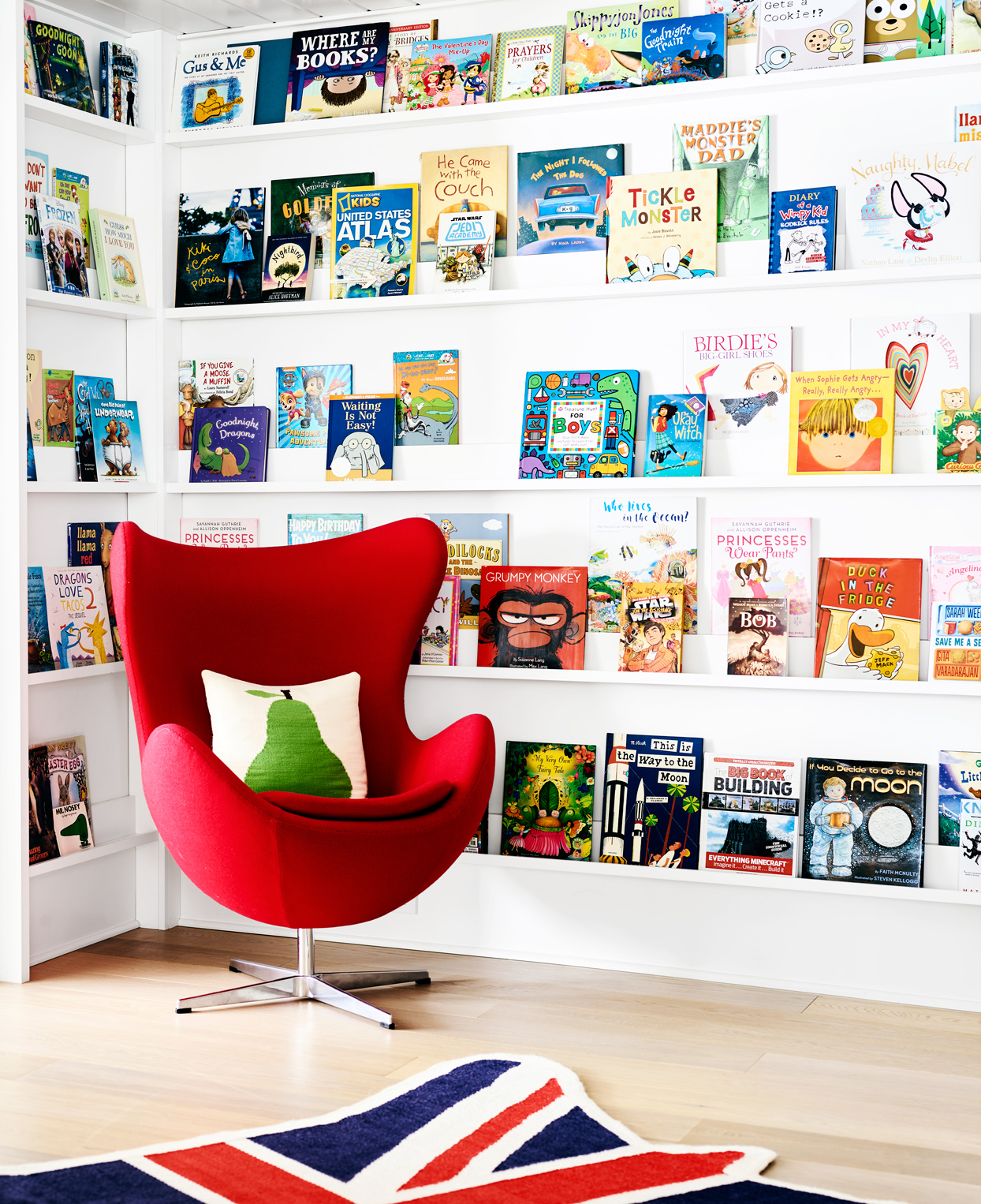 library wall of kids books