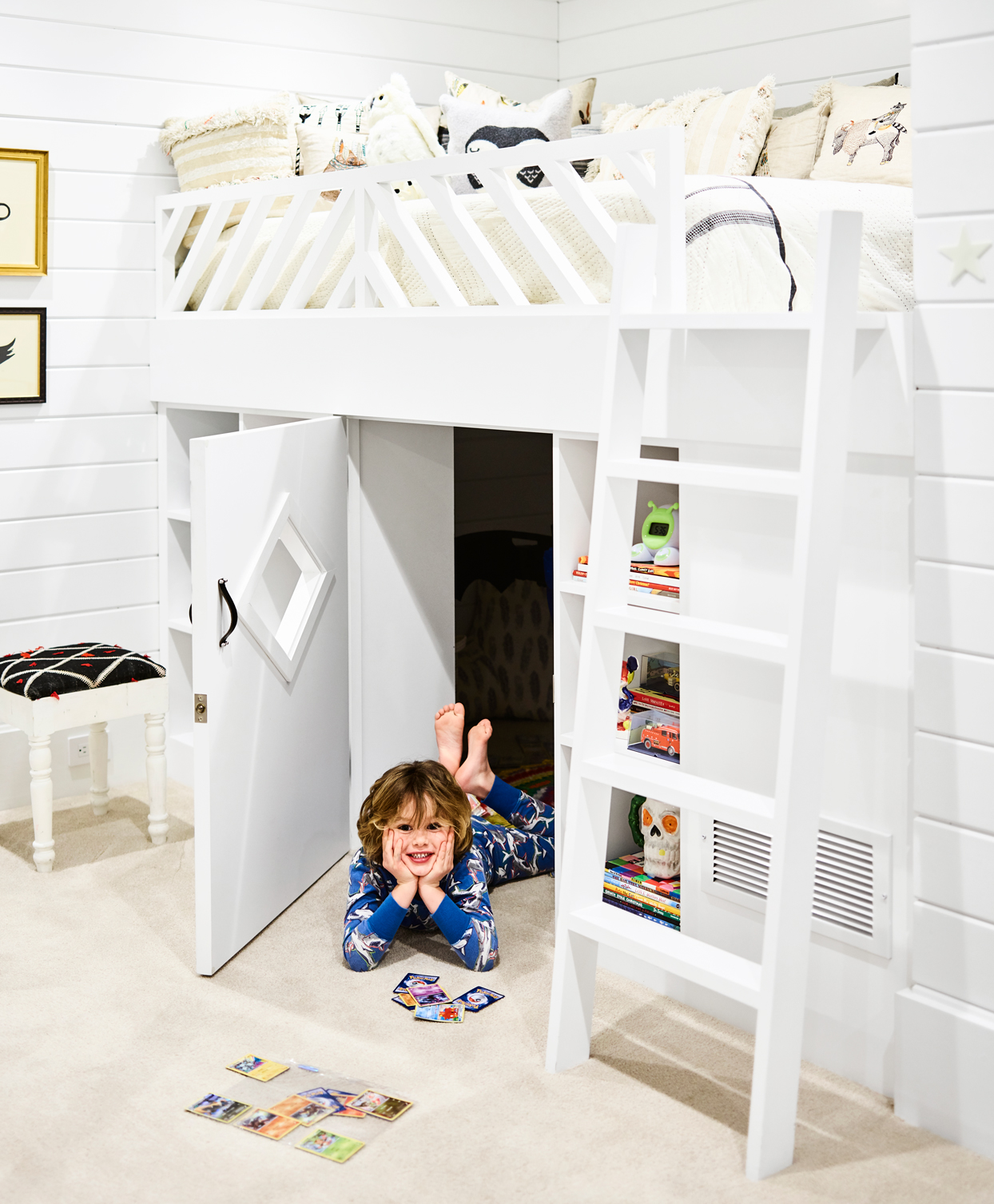 child's bedroom with bunk bed