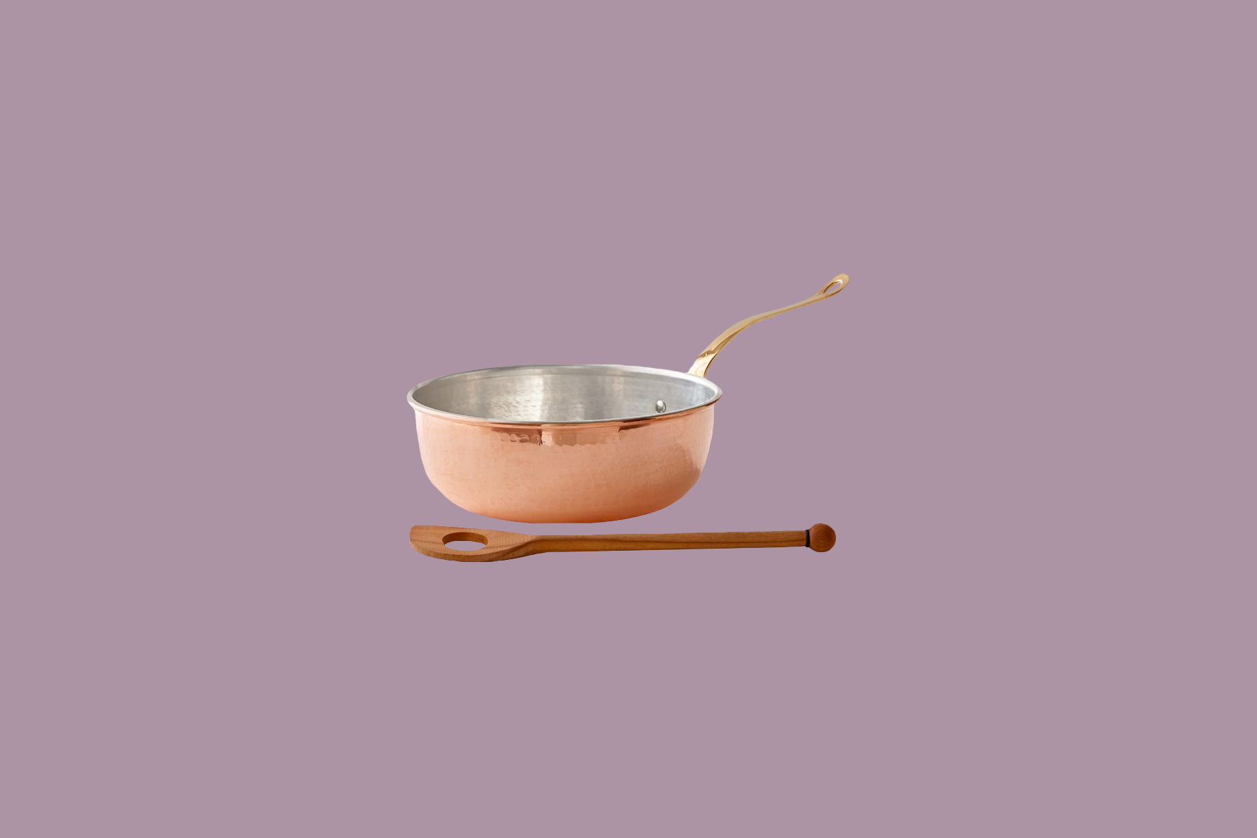 Ruffoni Historia Hammered Copper chefs pan with wooden spoon