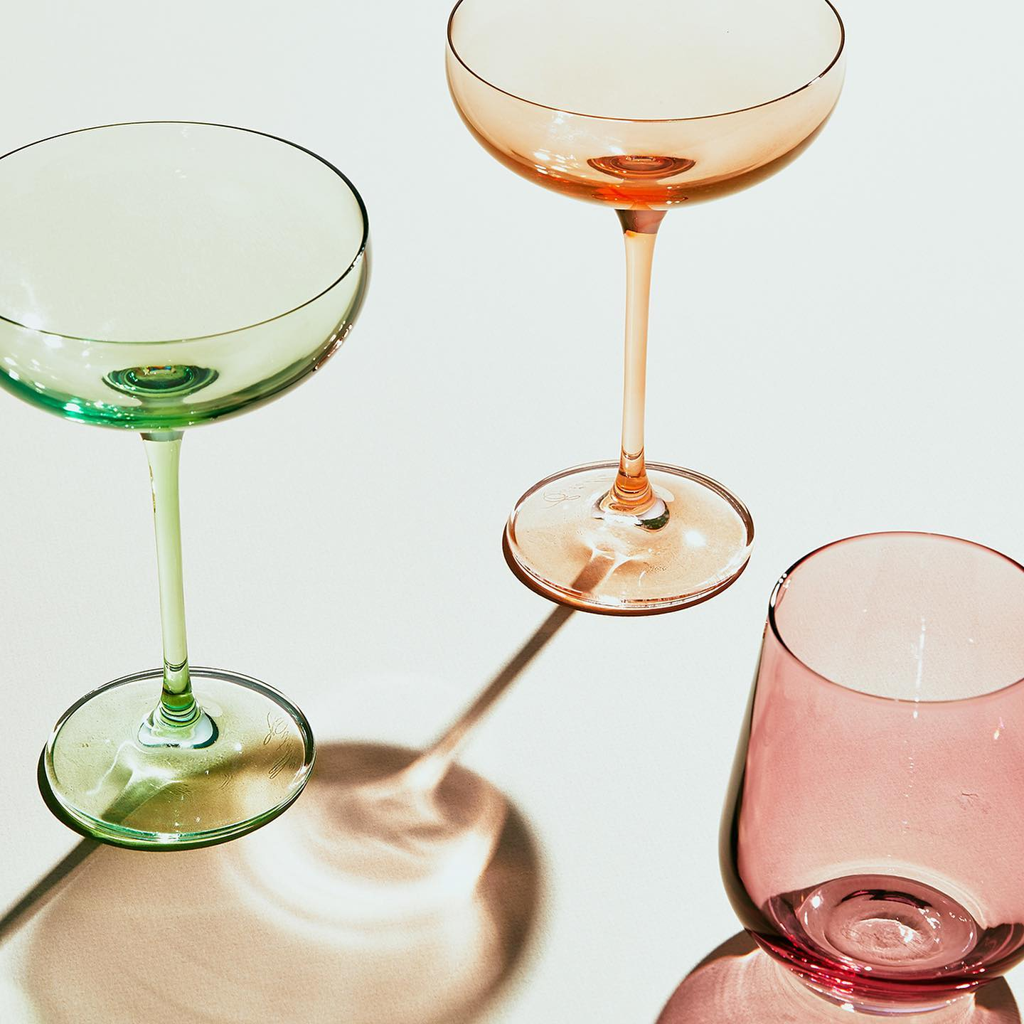 different types of glassware from Estelle Colored Glassware
