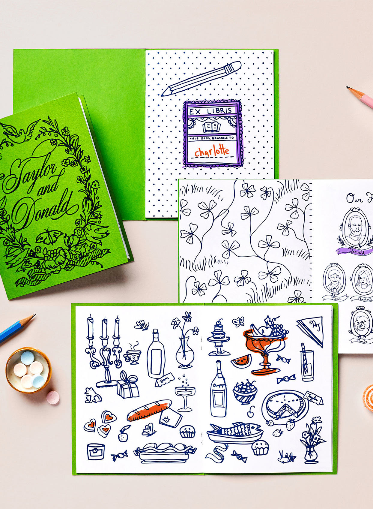 hand-drawn coloring books