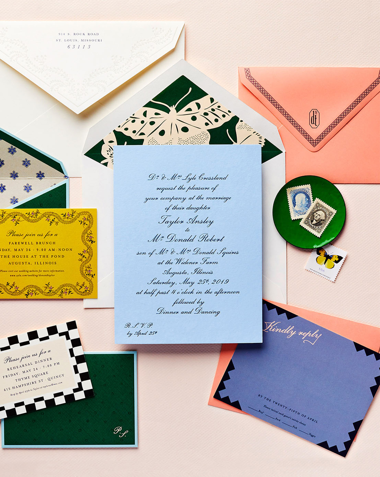 colorful wedding suite with formal invitations