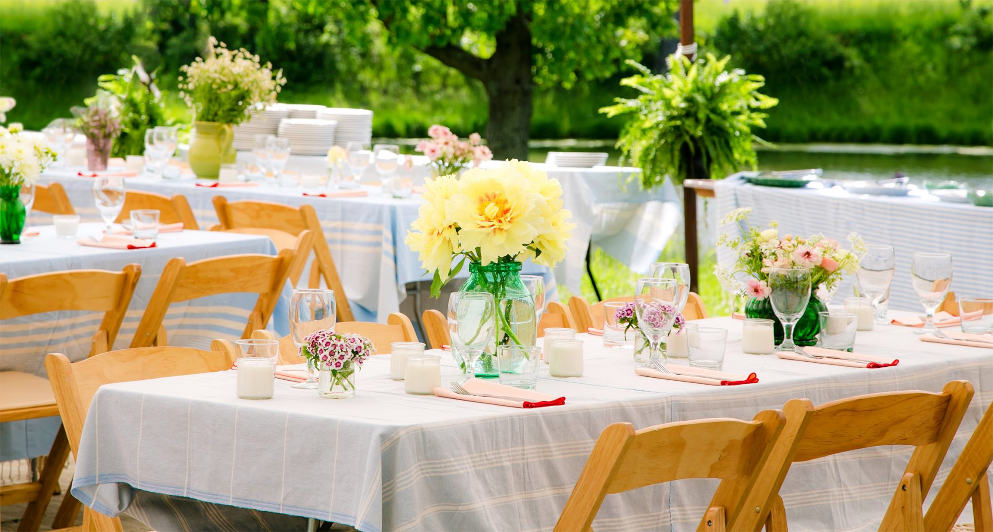 casual table setting with flowers and candles