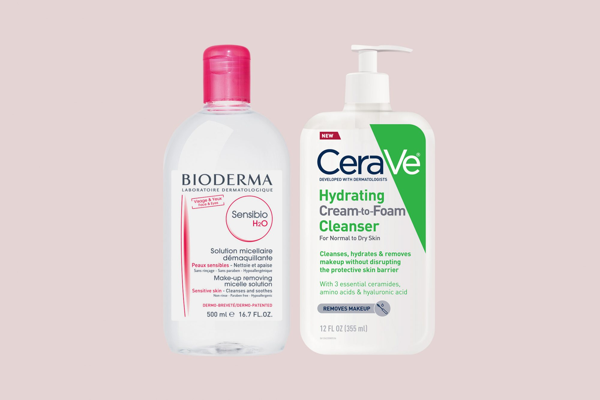 bioderma makeup remover and cerave cleanse
