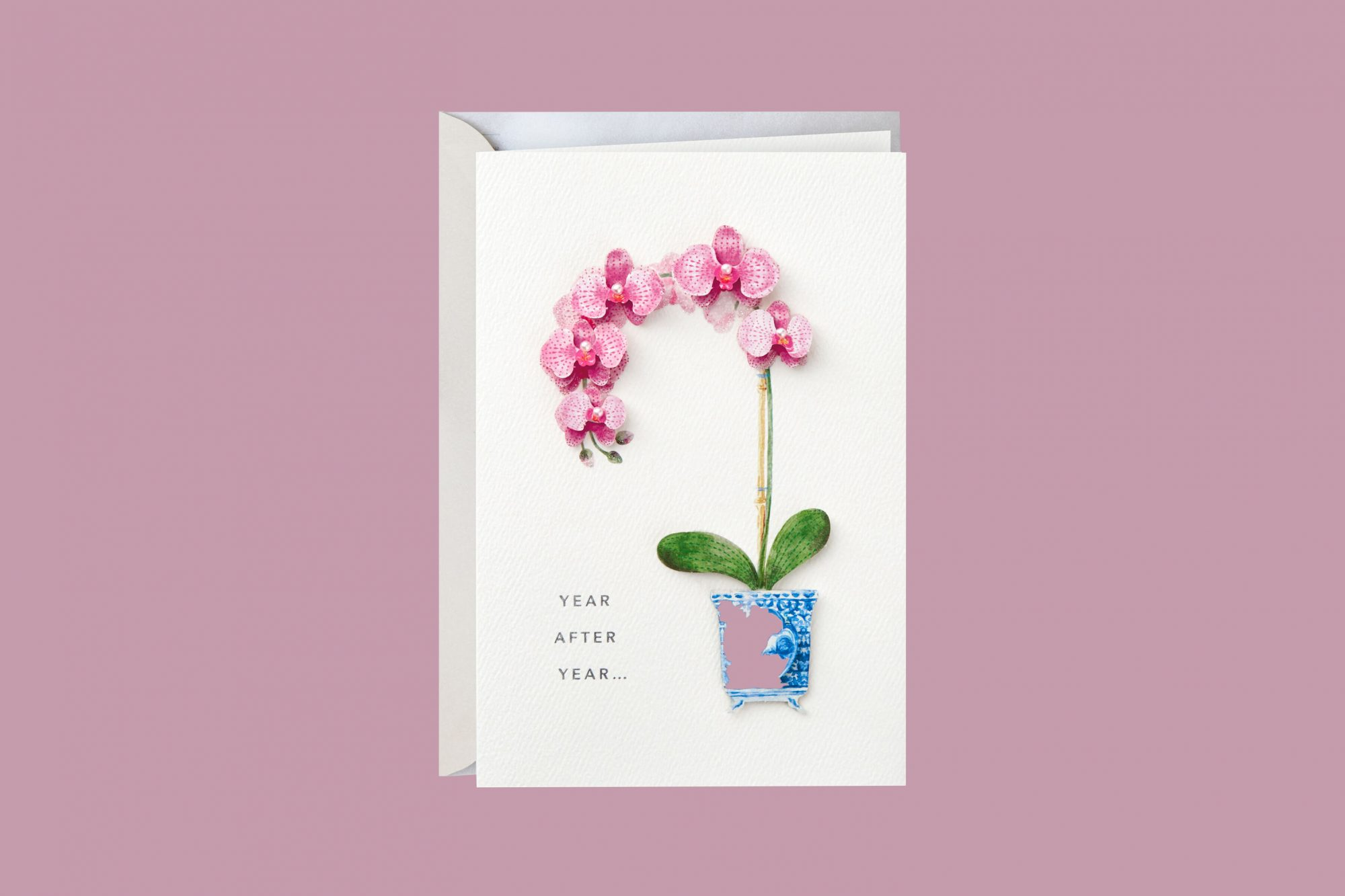 blooming orchid birthday card
